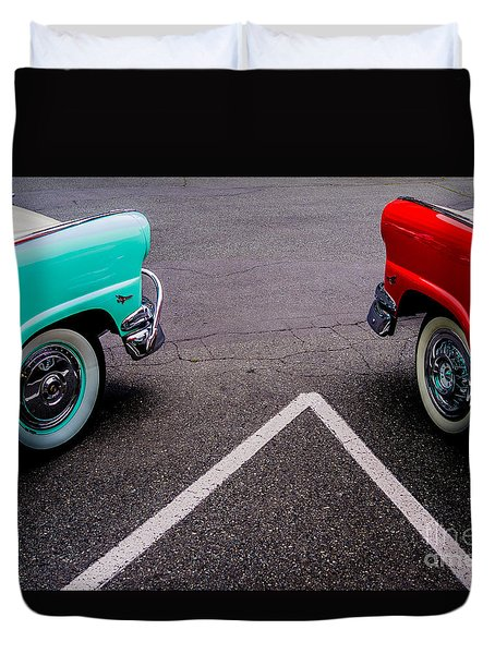 Duvet Cover featuring the photograph Two 1958 Ford Crown Victorias by M G Whittingham