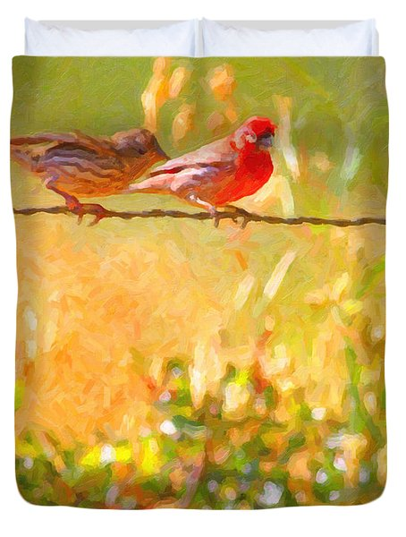 Two Birds On A Wire Duvet Cover by Wingsdomain Art and Photography