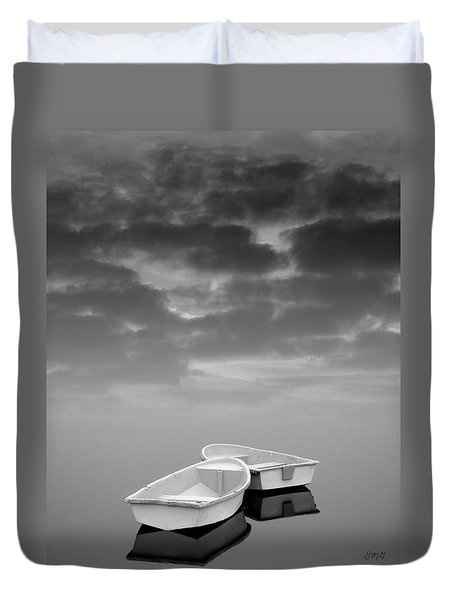 Two Boats And Clouds Duvet Cover by Dave Gordon