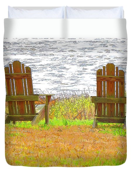 Two Chairs Facing The Lake Duvet Cover by Lanjee Chee