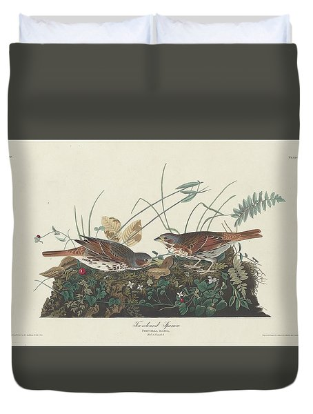 Two-colored Sparrow Duvet Cover by John James Audubon