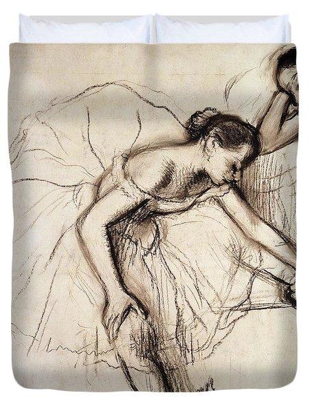 Two Dancers Resting Duvet Cover by Edgar Degas