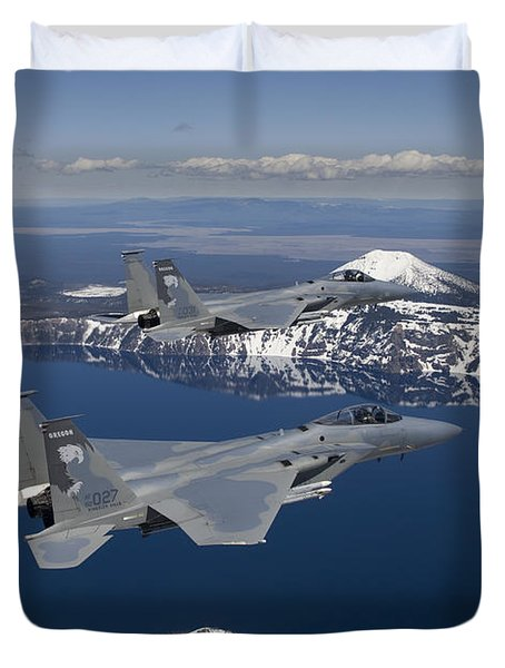 Two F-15 Eagles Fly Over Crater Lake Duvet Cover by HIGH-G Productions
