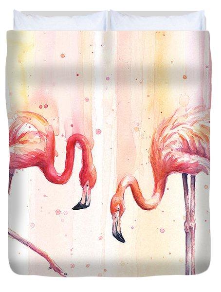 Two Flamingos Watercolor Duvet Cover by Olga Shvartsur