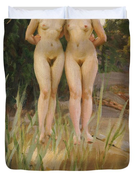 Two Friends  Duvet Cover by Anders Leonard Zorn