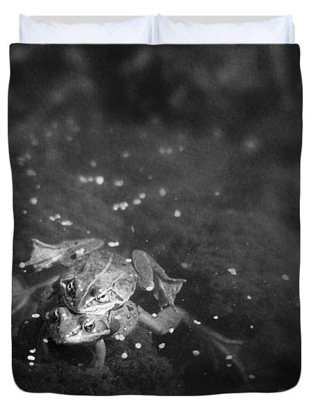 Two Frogs In A Pond Mating By Laying Duvet Cover by Roberta Murray