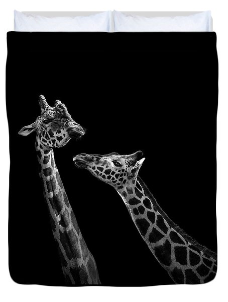 Two Giraffes In Black And White Duvet Cover by Lukas Holas