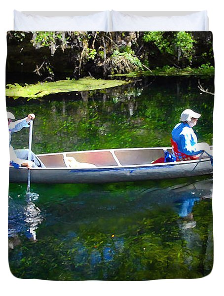 Two In A Canoe Duvet Cover by David Lee Thompson