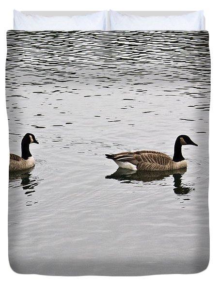 Two Lovely Canadian Geese Duvet Cover by Douglas Barnett