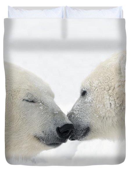 Two Polar Bears Ursus Maritimus Duvet Cover by Richard Wear