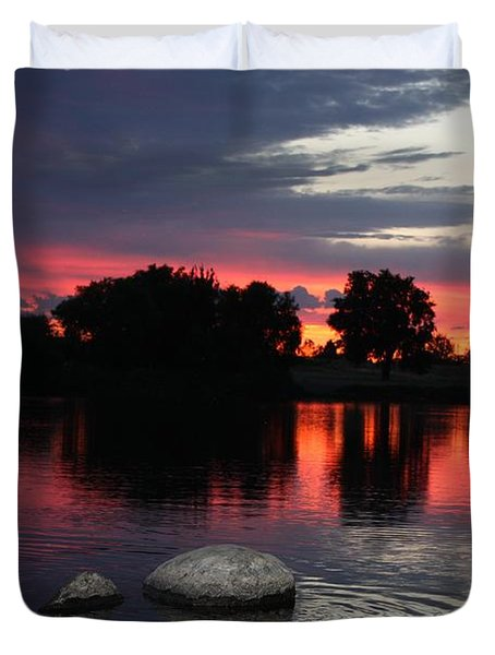 Two Rocks Sunset in Prosser Duvet Cover by Carol Groenen