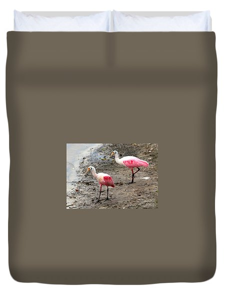 Two Roseate Spoonbills Duvet Cover by Carol Groenen
