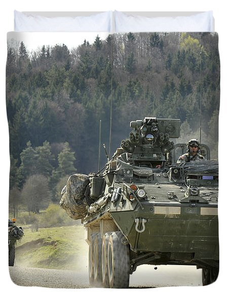 Two Stryker Vehicles At The Hohenfels Duvet Cover by Stocktrek Images
