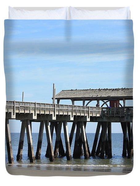 Tybee Island Pier Closeup Duvet Cover by Carol Groenen