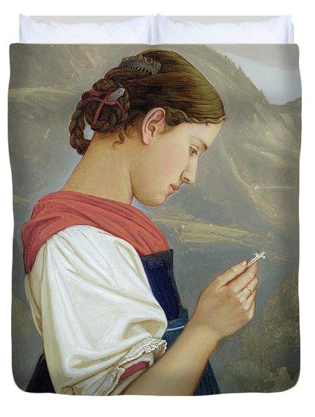 Tyrolean Girl Contemplating A Crucifix Duvet Cover by Rudolph Friedrich Wasmann