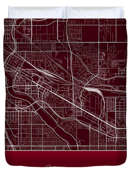 U Of M Street Map - University Of Minnesota Minneapolis Map Duvet Cover by Jurq Studio