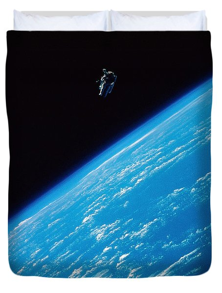 Unattached Space Walk Duvet Cover by Stocktrek Images