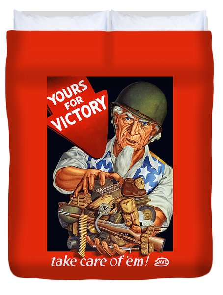 Uncle Sam - Yours For Victory Duvet Cover by War Is Hell Store