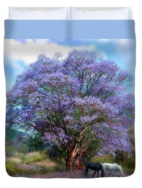 Under The Jacaranda Duvet Cover by Carol Cavalaris