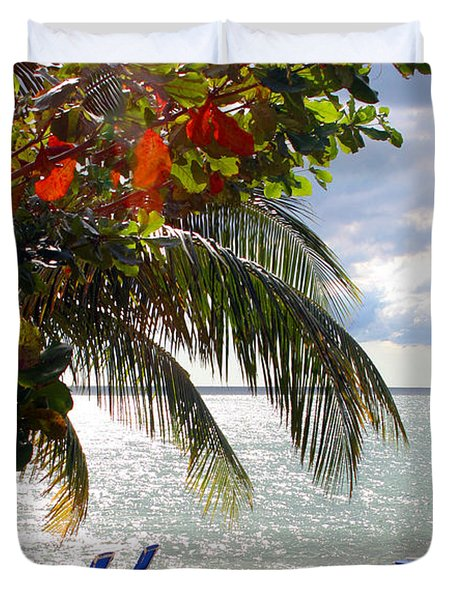 Under The Palms In Puerto Rico Duvet Cover by Madeline Ellis