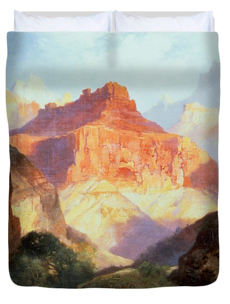 Under The Red Wall Duvet Cover by Thomas Moran