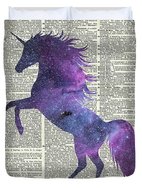 Unicorn In Space Duvet Cover by Jacob Kuch
