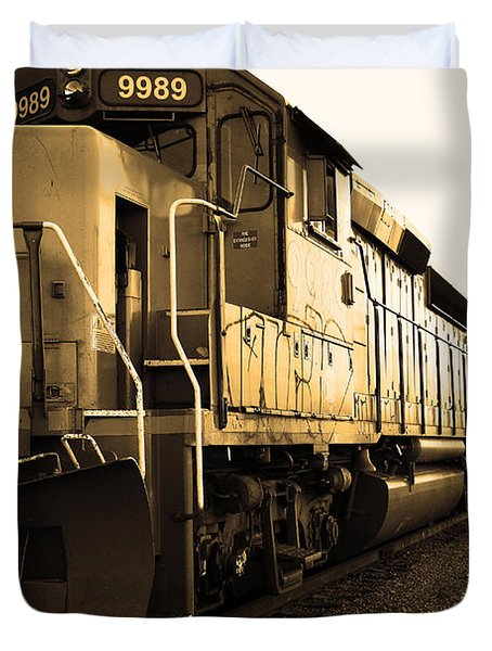 Union Pacific Locomotive Trains . 7d10588 . Sepia Duvet Cover by Wingsdomain Art and Photography