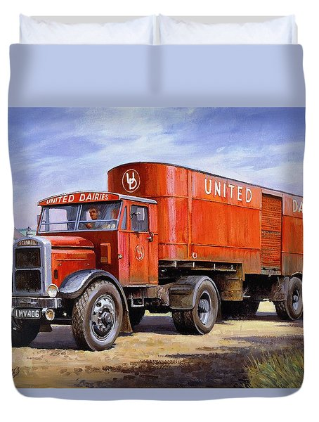 United Dairies Scammell. Duvet Cover by Mike  Jeffries