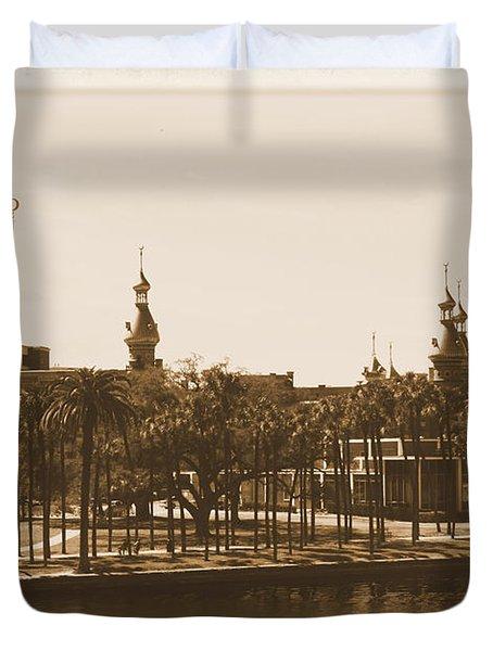 University Of Tampa - Old Postcard Framing Duvet Cover by Carol Groenen