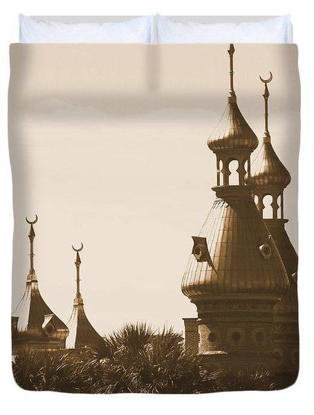 University Of Tampa Minarets With Old Postcard Framing Duvet Cover by Carol Groenen
