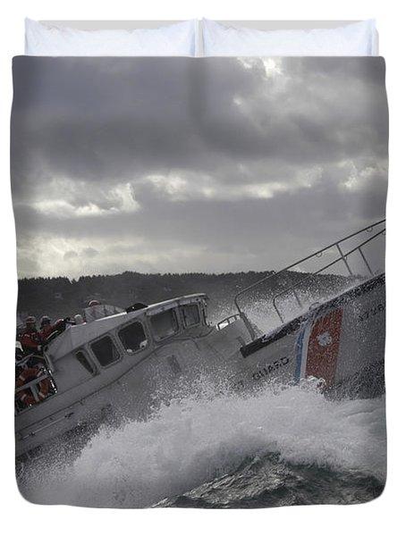 U.s. Coast Guard Motor Life Boat Brakes Duvet Cover by Stocktrek Images