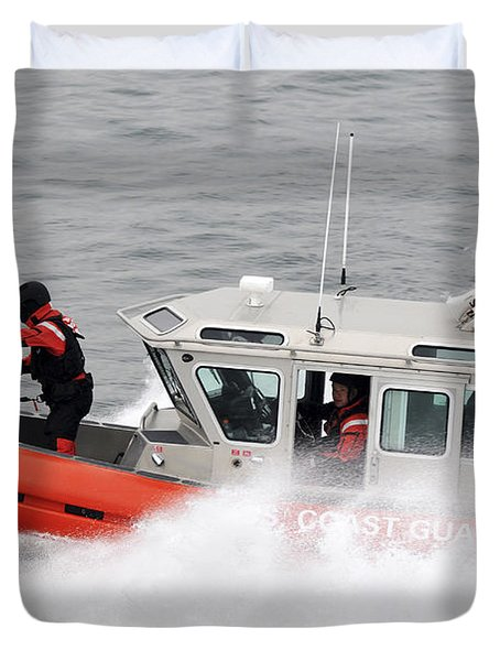 U.s. Coast Guardsmen Aboard A Security Duvet Cover by Stocktrek Images