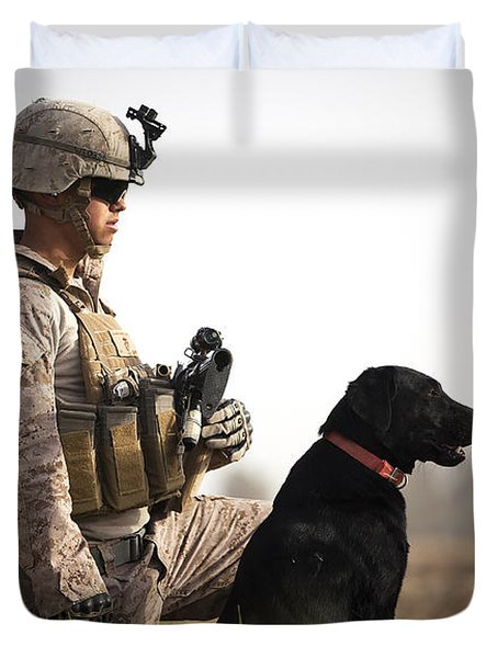 U.s. Marine Holds Security In A Field Duvet Cover by Stocktrek Images