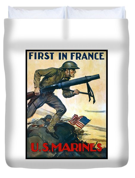 Us Marines - First In France Duvet Cover by War Is Hell Store