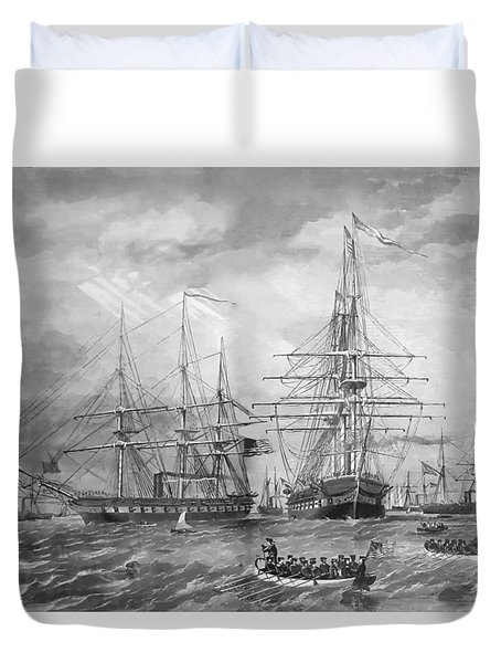 U.s. Naval Fleet During The Civil War Duvet Cover by War Is Hell Store