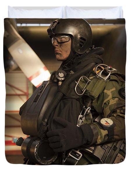 U.s. Navy Seal Combat Diver Prepares Duvet Cover by Tom Weber