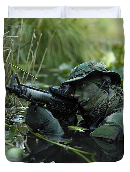 U.s. Navy Seal Crosses Through A Stream Duvet Cover by Tom Weber
