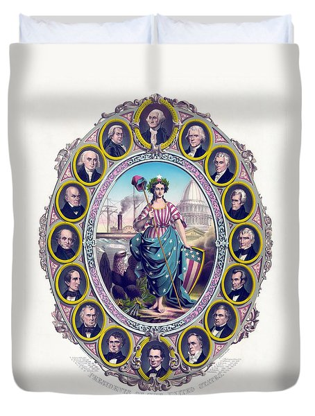 US Presidents and Lady Liberty  Duvet Cover by War Is Hell Store