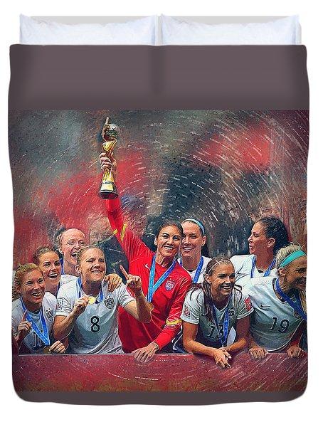 Us Women's Soccer Duvet Cover by Semih Yurdabak