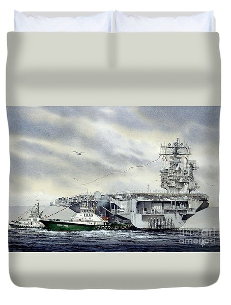 Uss Abraham Lincoln Duvet Cover by James Williamson