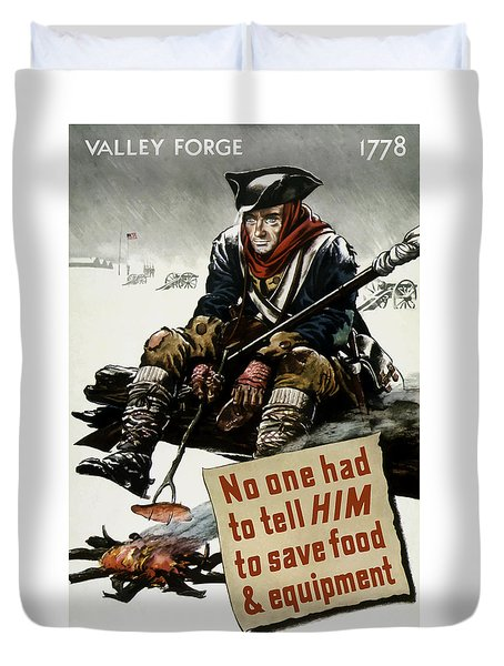 Valley Forge Soldier - Conservation Propaganda Duvet Cover by War Is Hell Store