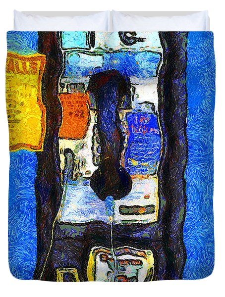 Van Gogh.s Pay Phone . 7D15934 Duvet Cover by Wingsdomain Art and Photography