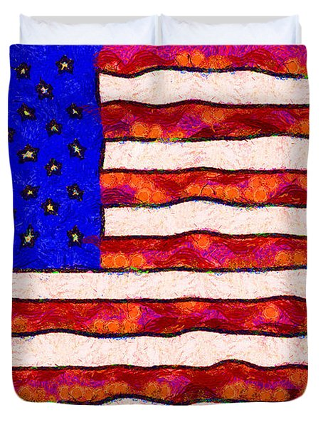 Van Gogh.s Starry American Flag Duvet Cover by Wingsdomain Art and Photography