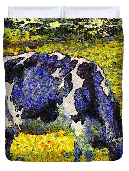 Van Gogh.s Starry Blue Cow . 7D16140 Duvet Cover by Wingsdomain Art and Photography