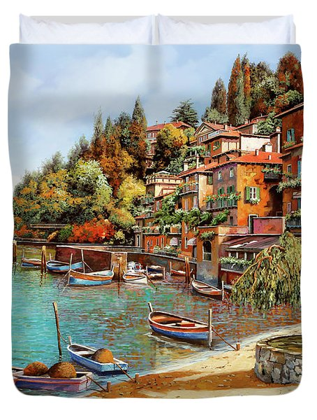 Varenna on Lake Como Duvet Cover by Guido Borelli