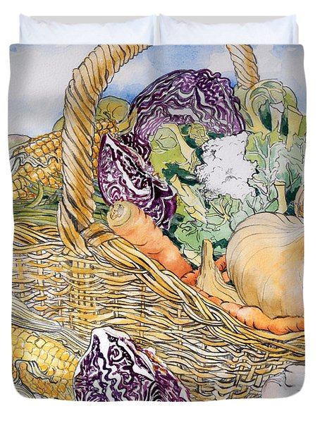 Vegetables In A Basket Duvet Cover by Joan Thewsey