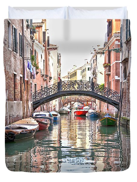 Venice Bridge Crossing 2 Duvet Cover by Heiko Koehrer-Wagner