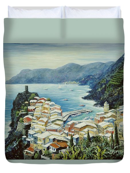 Vernazza Cinque Terre Italy Duvet Cover by Marilyn Dunlap