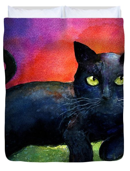 Vibrant Black Cat Watercolor Painting  Duvet Cover by Svetlana Novikova