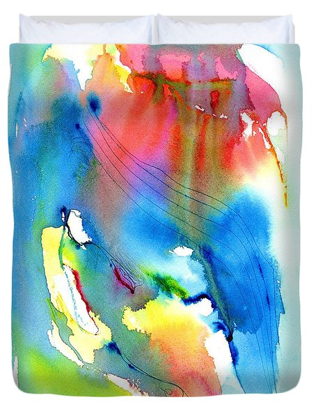 Vibrant Colorful Abstract Watercolor Painting Duvet Cover by Carlin Blahnik